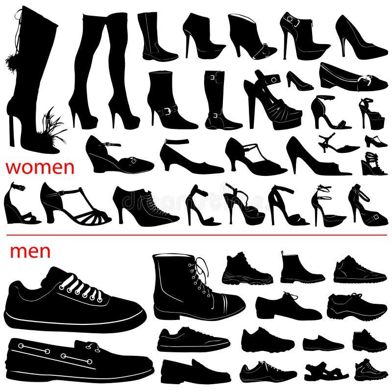 Vector de los zapatos de las mujeres y de los hombres libre illustration