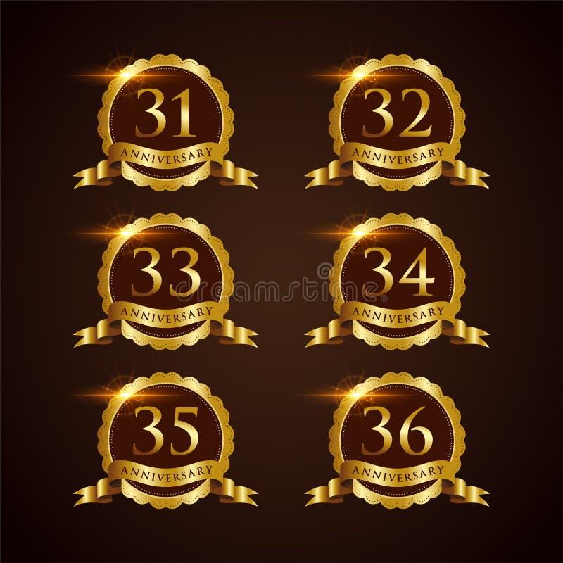 Vector de lujo Illustrator EPS del aniversario 31-32 de la insignia 10 ilustración del vector
