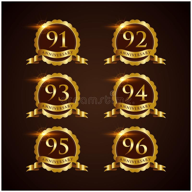 Vector de lujo Illustrator EPS del aniversario 91-96 de la insignia 10 stock de ilustración