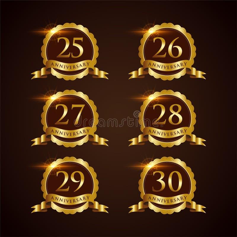 Vector de lujo Illustrator EPS del aniversario 25-30 de la insignia 10 ilustración del vector