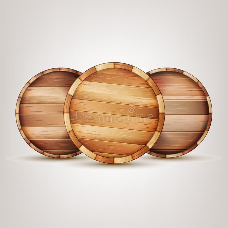 Vector de madera de la muestra del barril Fondo aislado superior del extremo ilustración del vector