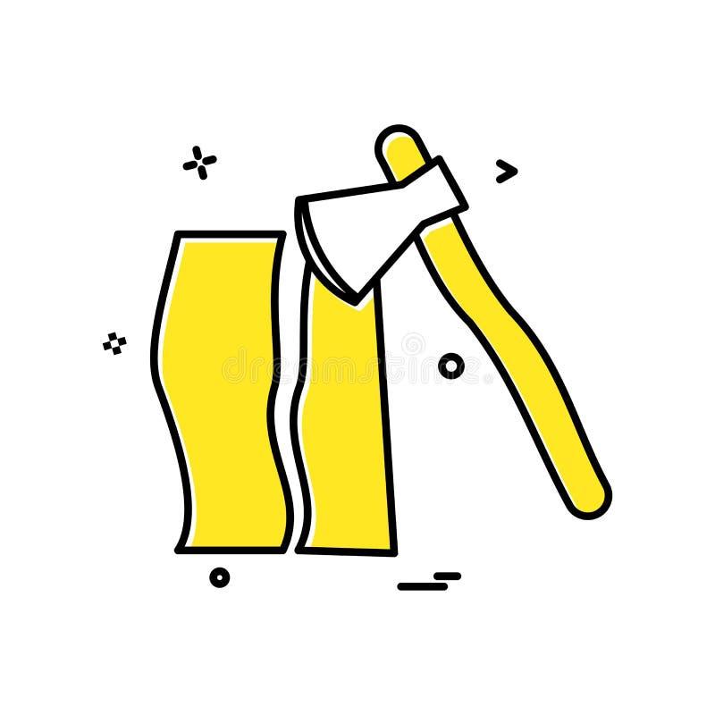 vector de madera del icono del cortador del hacha stock de ilustración