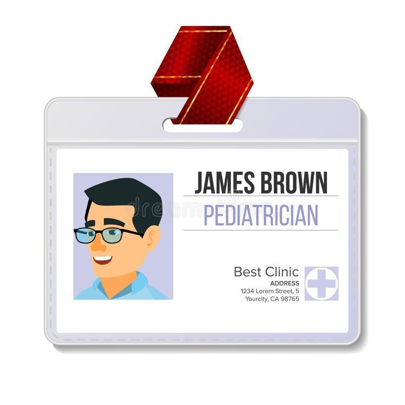 Vector De Medical Identification Badge Del Pediatra Hombre Plantilla ...