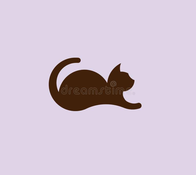 Vector de mentira del diseño del logotipo del gato libre illustration