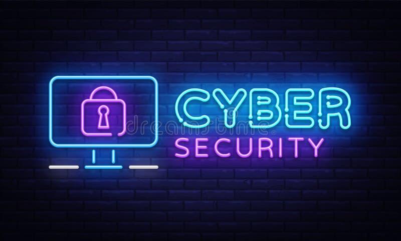 Vector de neón del letrero de la seguridad cibernética Señal de neón de la seguridad de Internet, plantilla del diseño, diseño mo stock de ilustración