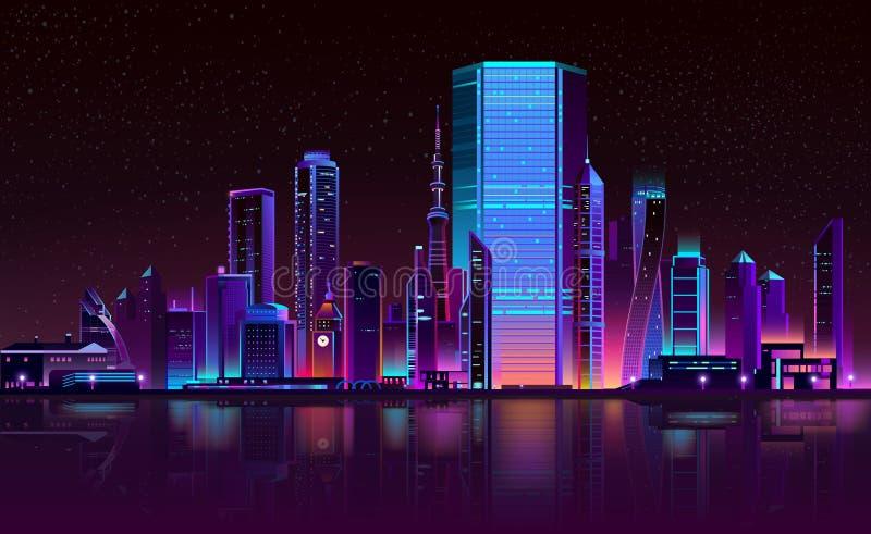 Vector de neón de la historieta de la ciudad del horizonte moderno de la noche libre illustration
