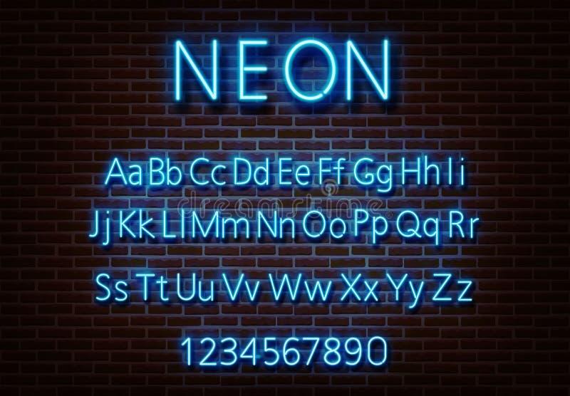 Vector de neón de la muestra del alfabeto de la letra Muestra azul de la luz de la fuente aislada en la pared de ladrillo Templ l stock de ilustración
