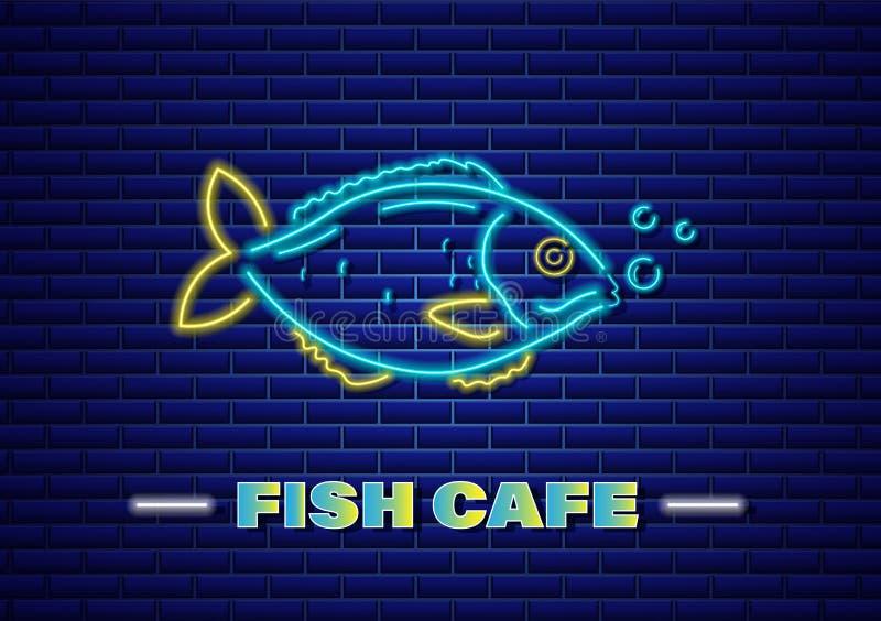 Vector de neón de los pescados Plantillas frescas del símbolo del icono que brillan intensamente Carteles del mercado de pescados ilustración del vector