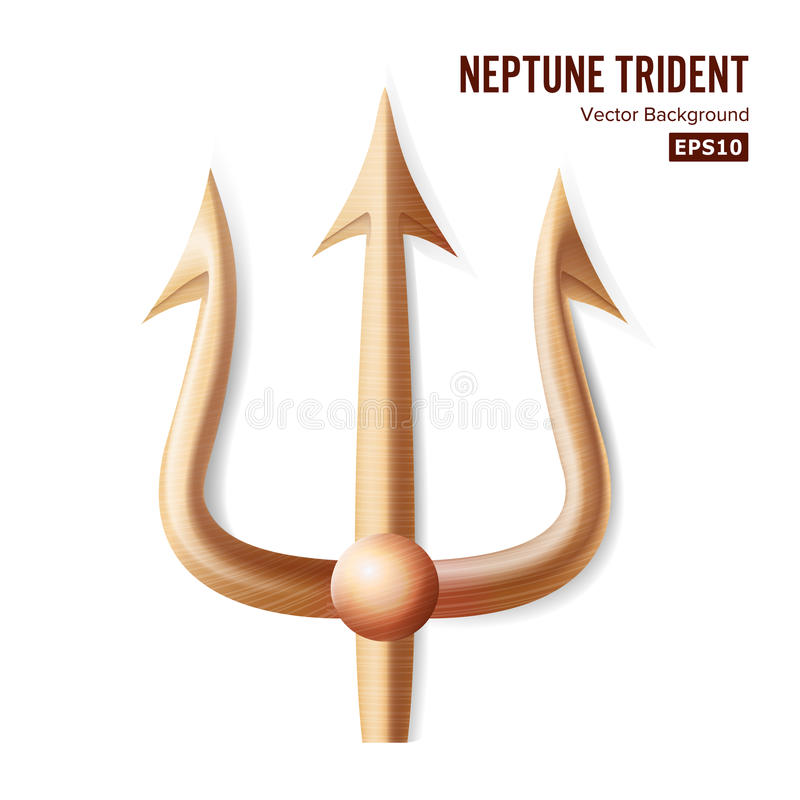 Vector de Neptuno Trident Silueta realista de bronce 3D de Neptuno o del arma de Poseidon Objeto agudo de la bifurcación del biel stock de ilustración