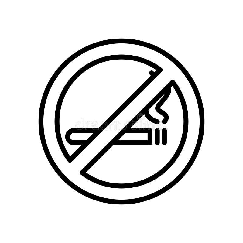 Vector de no fumadores del icono aislado en el fondo blanco, los elementos de no fumadores de la muestra, de la línea y del esque stock de ilustración