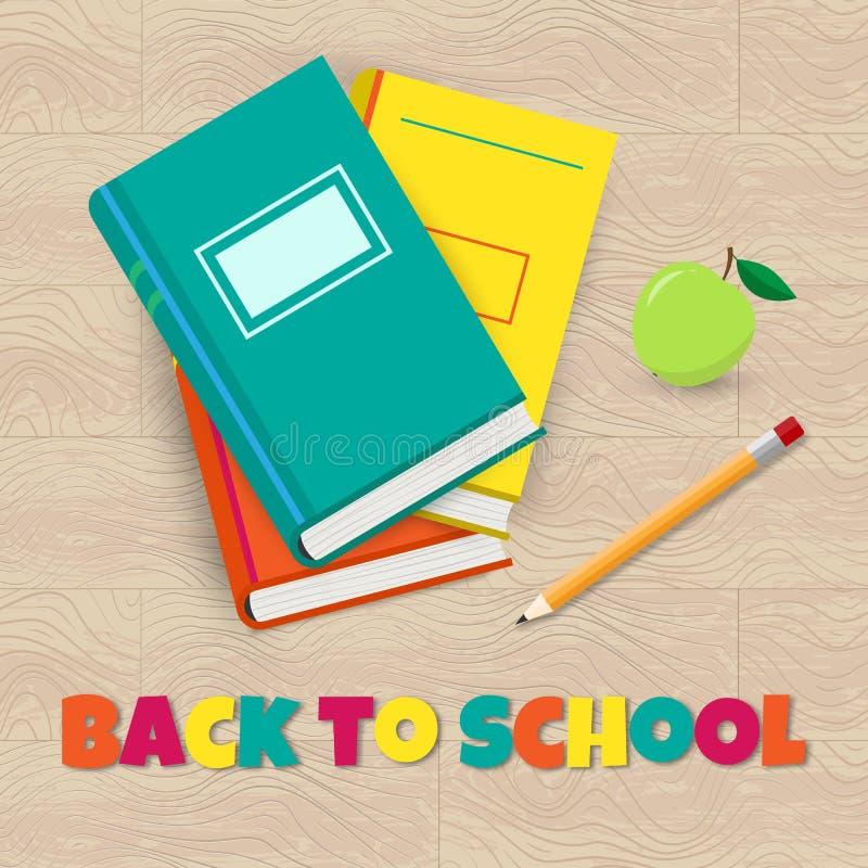 Vector de nuevo al cartel de la escuela con el libro, el l?piz y la manzana libre illustration