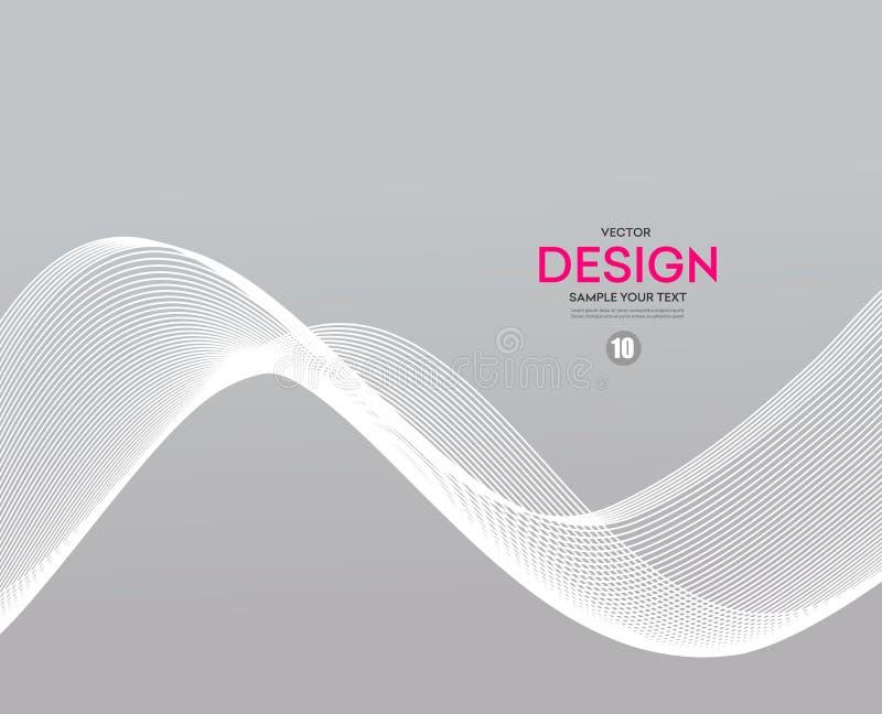 Vector de onda gris liso abstracto Humo gris Fondo de la onda del negocio Bandera de la onda de la tecnología stock de ilustración