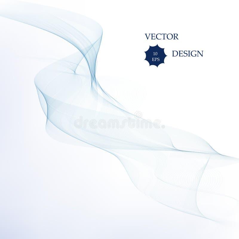 Vector de onda liso abstracto del color Ejemplo azul del movimiento del flujo de la curva Dise?o del humo ilustración del vector
