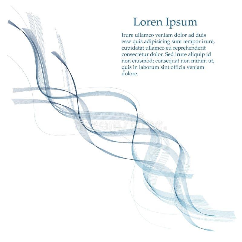 Vector de onda liso abstracto del color Ejemplo azul del movimiento del flujo de la curva Dise?o del humo stock de ilustración