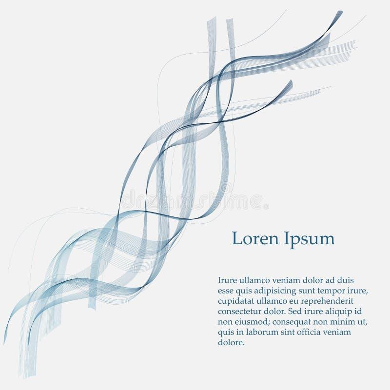 Vector de onda liso abstracto del color Ejemplo azul del movimiento del flujo de la curva Dise?o del humo libre illustration
