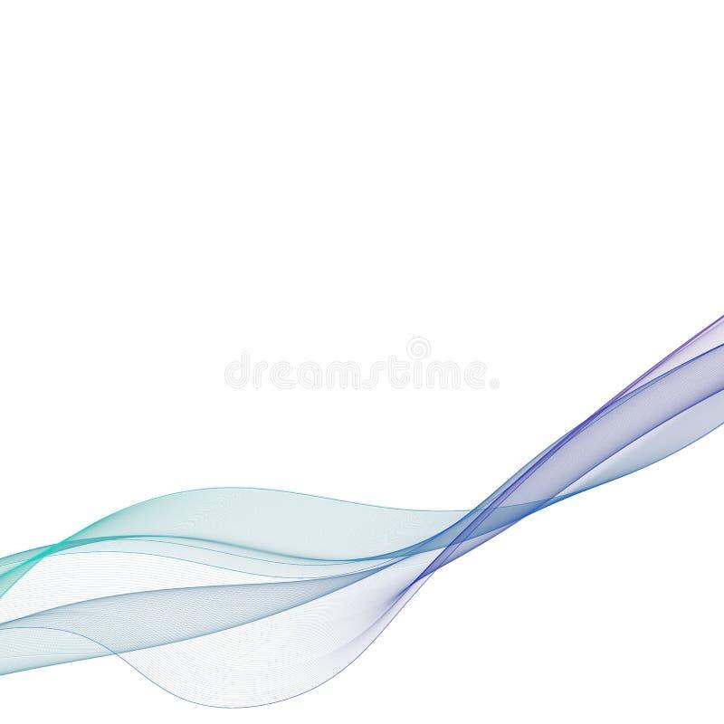 Vector de onda liso abstracto del color Ejemplo azul del movimiento del flujo de la curva Dise?o del humo L?neas del vector EPS 1 ilustración del vector