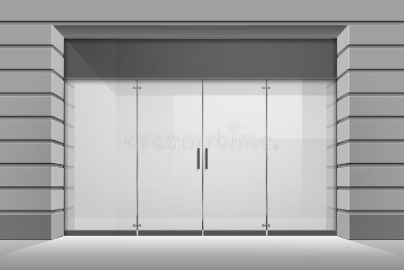 Vector de Opslagvoorzijde van de Winkelboutique met Groot Venster stock foto