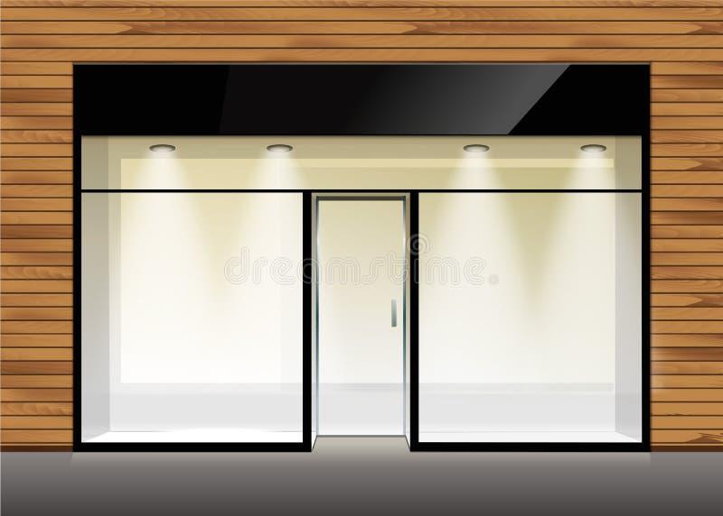 Vector de Opslagvoorzijde van de Winkelboutique met Groot Venster royalty-vrije stock afbeelding