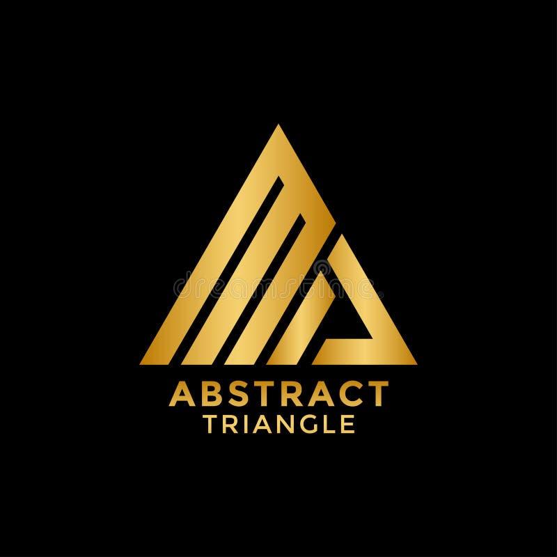 Vector de oro abstracto de la plantilla del diseño del icono del logotipo del triángulo stock de ilustración