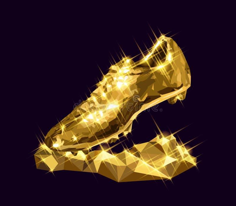 vector de oro del listón de la bota del fútbol del ejemplo 3d stock de ilustración