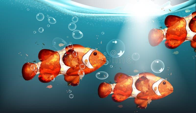 Vector de oro de la acuarela de los pescados Fondos subacuáticos de los pequeños pescados Burbujas y luces del agua ilustración del vector