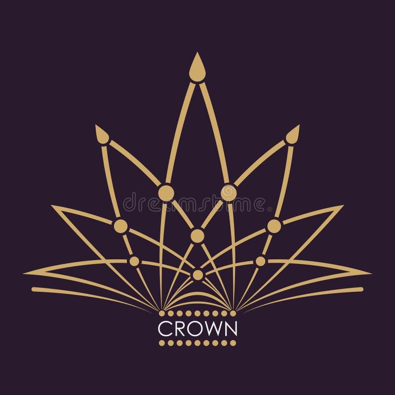 Vector de oro de la corona Línea diseño del logotipo del arte Símbolo real del vintage del poder y de la riqueza Muestra creativa ilustración del vector
