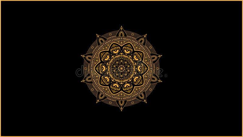 Vector de oro de la decoración de la mandala ilustración del vector