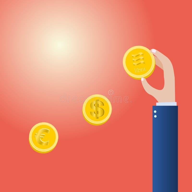 Vector de oro de la moneda del control de la mano ilustración del vector