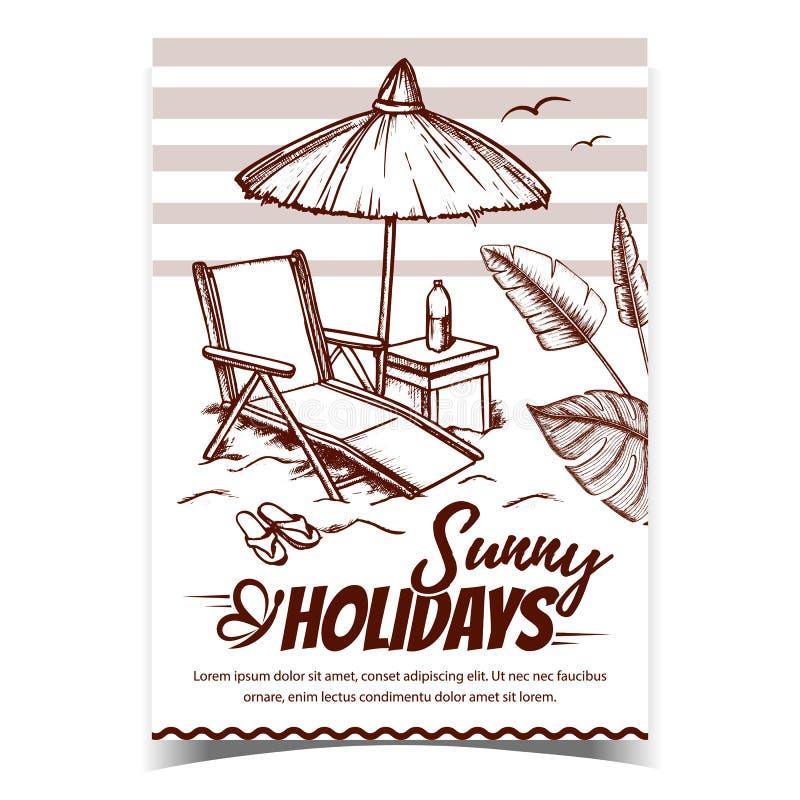 Vector de póster publicitario de Sunny Holidays Coast stock de ilustración