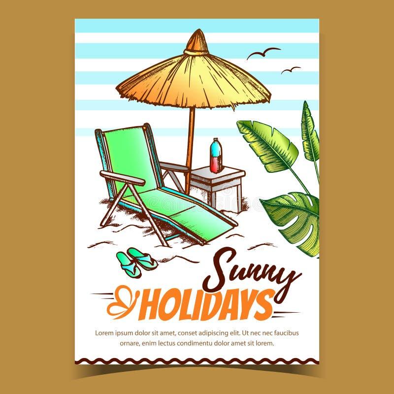 Vector de póster publicitario de Sunny Holidays Coast libre illustration