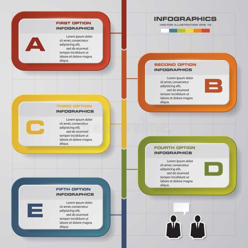 vector de 5 pasos para infographic Plantilla para el diagrama ilustración del vector
