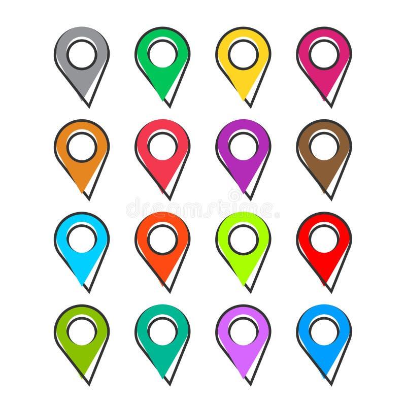 Vector de plaatspictogram van de beeldverhaal vastgesteld speld in grappige stijl nearsighted vector illustratie