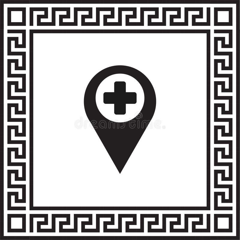 Vector de plaatspictogram van de pictogramteller plus in een kader met een Grieks ornament vector illustratie