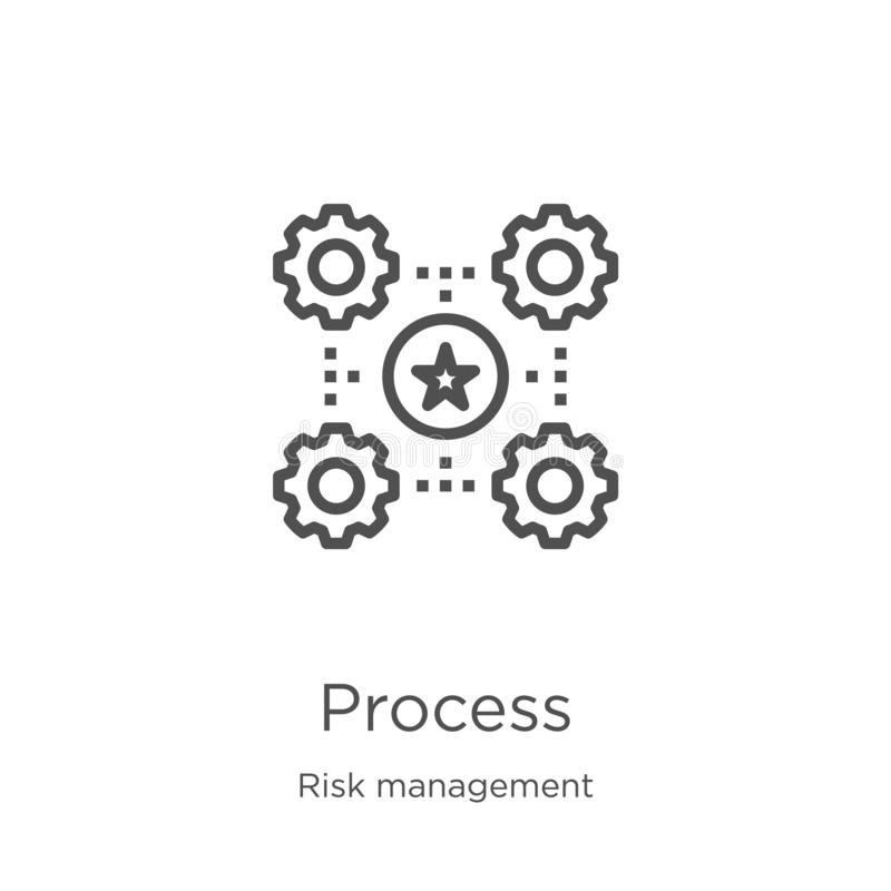 vector de proceso del icono de la colección de la gestión de riesgos Línea fina ejemplo del vector del icono del esquema del proc stock de ilustración