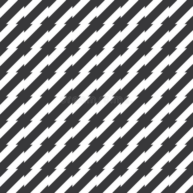 Vector de punta irregular blanco y negro inconsútil del modelo de las rayas ilustración del vector