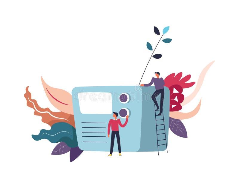 Vector de radio del receptor y de la gente de la información de los medios de comunicación ilustración del vector