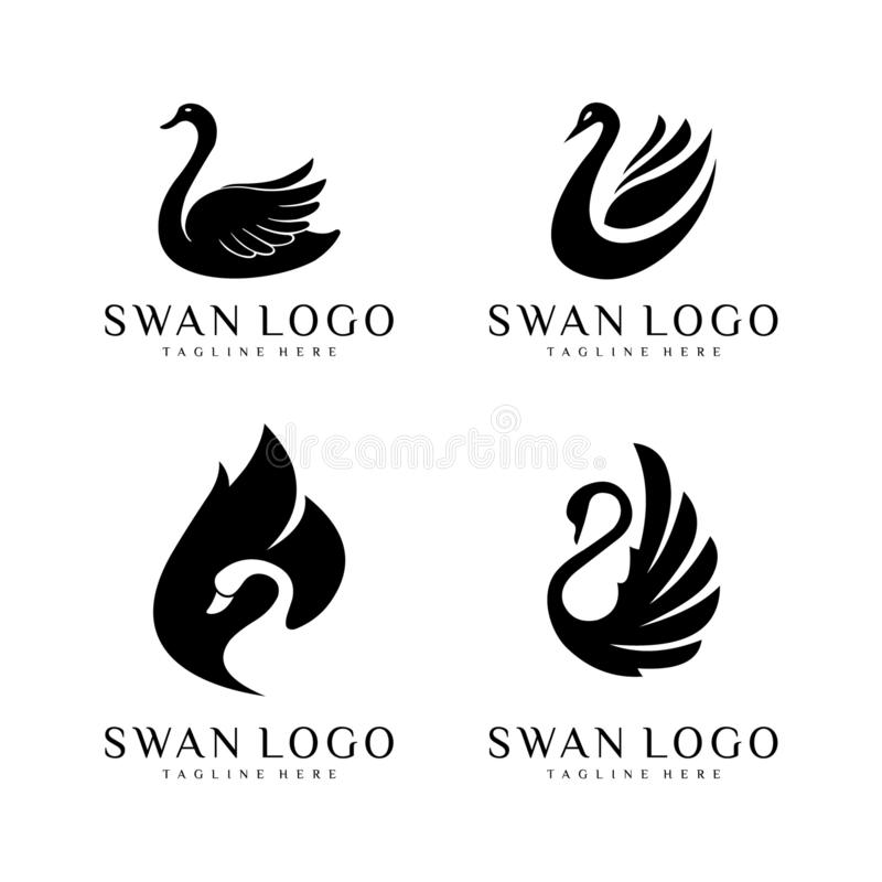 Vector de reekssilhouetten van het zwaanembleem royalty-vrije illustratie