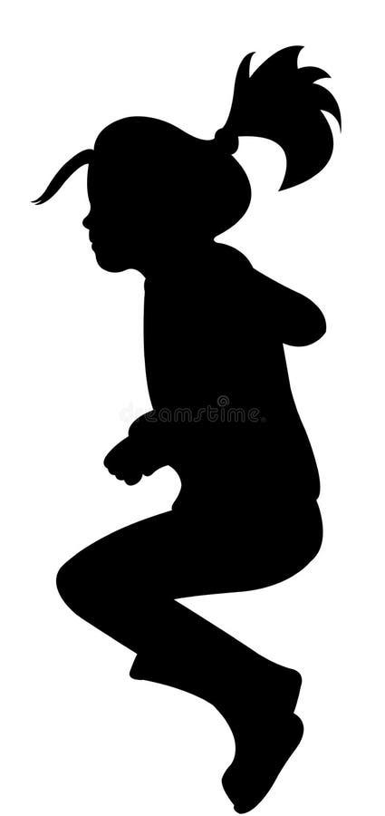 Vector de salto de la silueta de la muchacha stock de ilustración