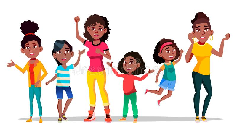 Vector de salto de diversa edad de la mujer del carácter del Afro ilustración del vector