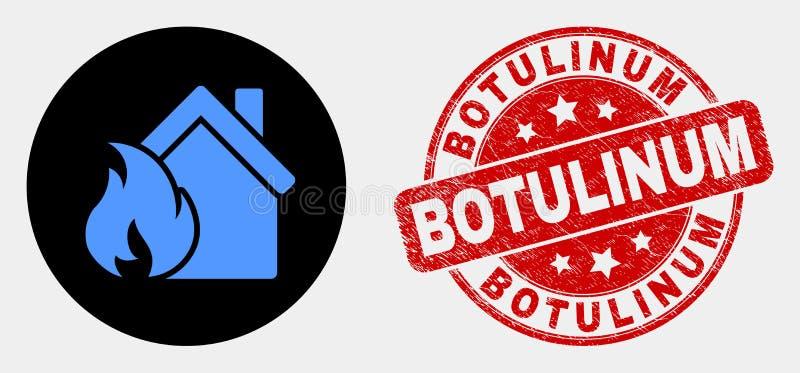 Vector de Schadepictogram van de Huisbrand en Botulinum Watermerk van Grunge royalty-vrije illustratie