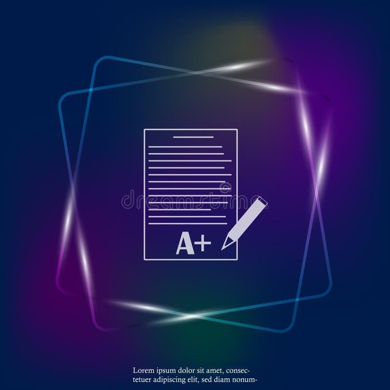 Vector de schoolvorm van het neonlichtpictogram met rangen Uitstekende test royalty-vrije illustratie