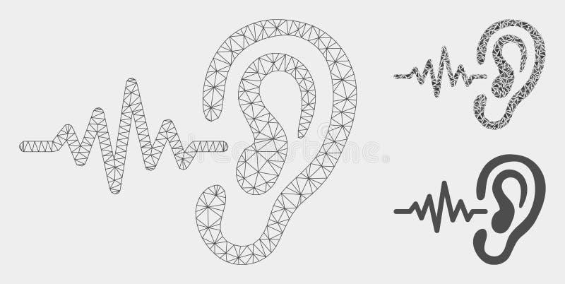 Vector de señal de la audición Mesh Network Model e icono del mosaico del triángulo stock de ilustración