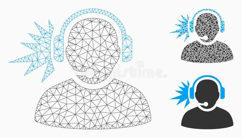 Vector de señal de los auriculares del operador Mesh Wire Frame Model e icono del mosaico del triángulo libre illustration