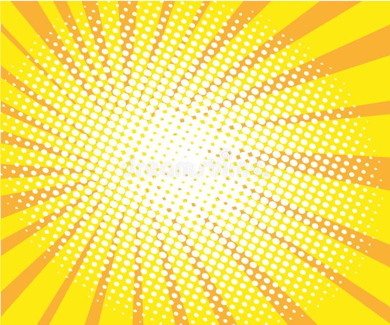 Vector de semitono cómico retro soleado del fondo del arte pop stock de ilustración