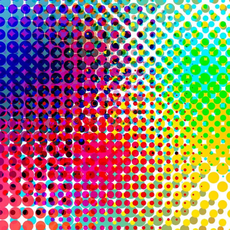 Vector de semitono colorido de la pendiente del fondo Backround abstracto con los elementos de semitono coloridos Geomeric retro ilustración del vector