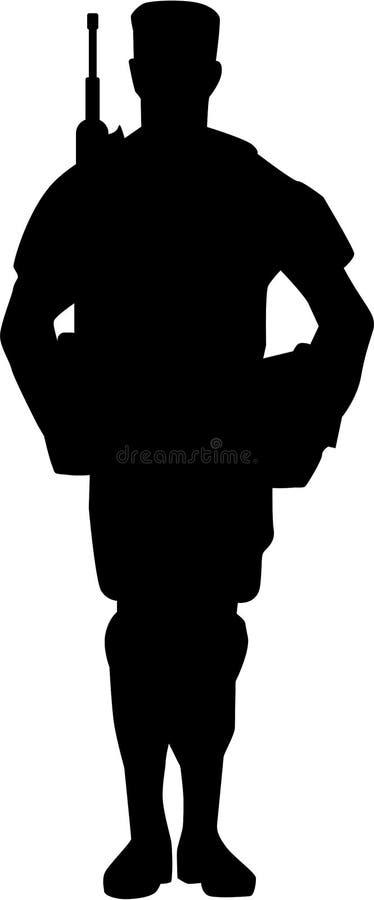 Vector de Silhouette del soldado ilustración del vector