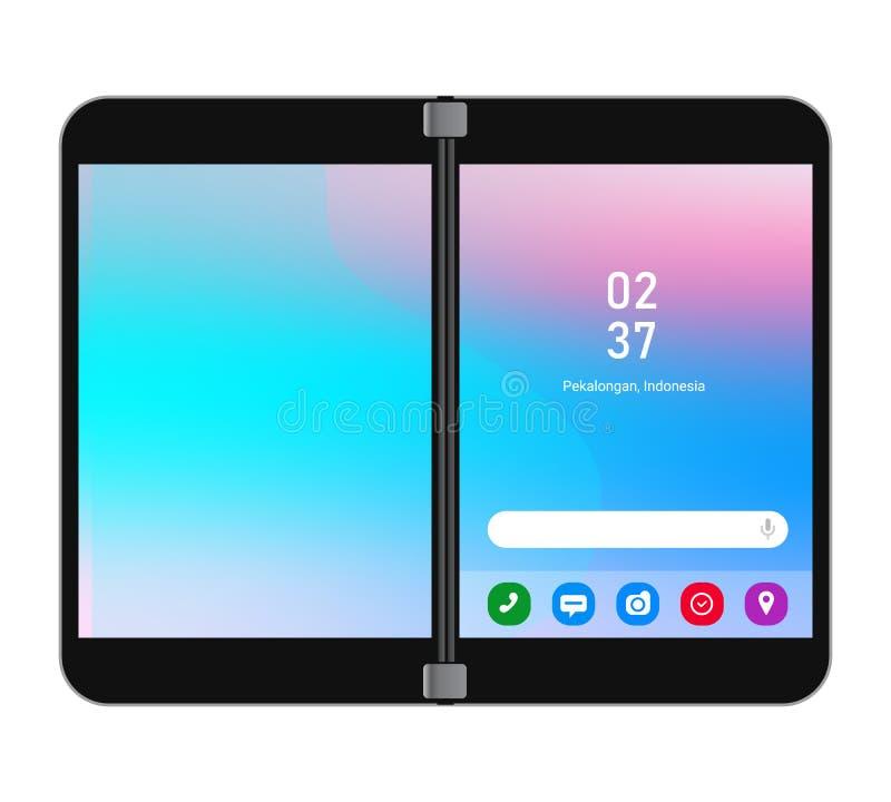 Vector de smartphone con dispositivo de doble pantalla plegable stock de ilustración
