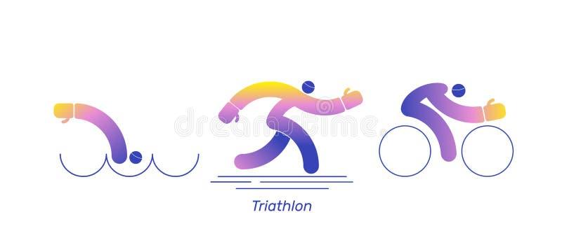 Vector de sportfiets van de triatlonactiviteit De embleemlooppas zwemt agent Pictogrammen - het zwemmen, het lopen, fiets De reek stock illustratie