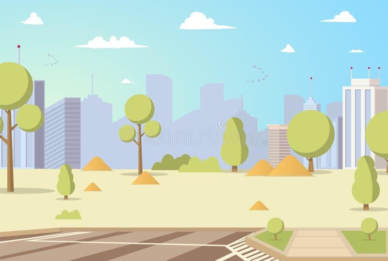 Vector de Stadspark Panoramas van het Illustratiebeeldverhaal royalty-vrije illustratie