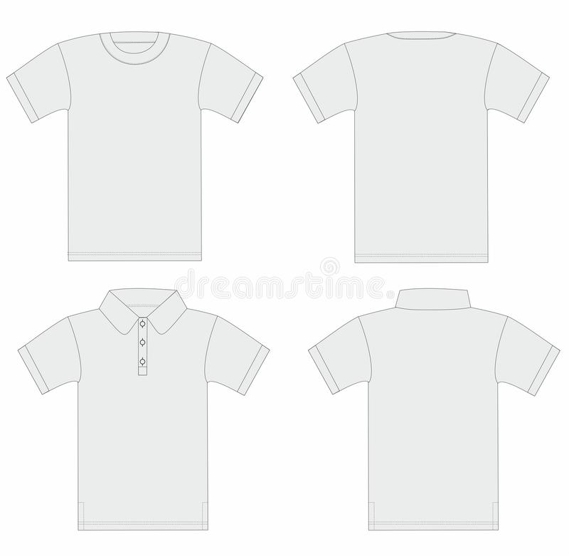 Vector. De t-shirt van mensen en van het polooverhemd malplaatje. royalty-vrije illustratie